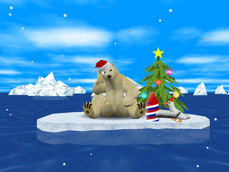 Animated 3D Arctic Bear celebrates winter holidays with a companion albatross.